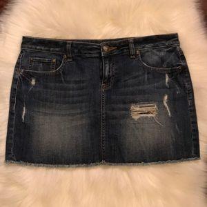 A denim short skirt